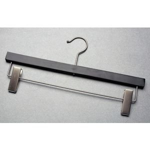 14'' Pant Hanger Wood Black Case of 100 by Retail Resource