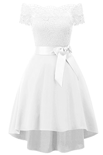 MILANO BRIDE Women's Vintage Floral Lace Short Sleeves Boat Neck Cocktail Formal Swing Dress-L-White