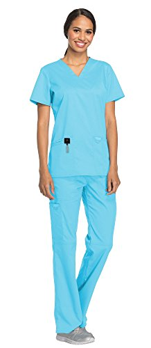 Cherokee Workwear Revolution Women's Medical Uniforms Scrubs Set Bundle - WW620 V-Neck Scrub Top & WW110 Elastic Waist Scrub Pants & MS Badge Reel (Turquoise - - Waistband V-neck
