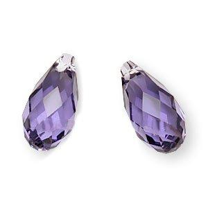 SWAROVSKI ELEMENTS Flat Crystal Briolette Beads #6010 11x5.5mm Tanzanite -