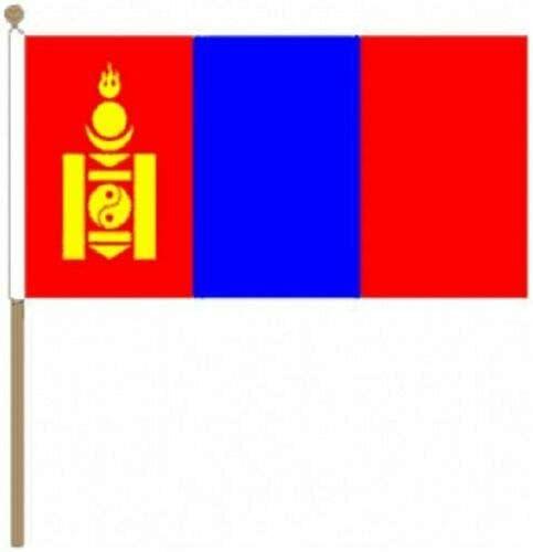 Flagmania® 12 Stück Mongolei 30,5 x 45,7 cm große Handwinkel-Flaggen + 59 mm Button Badge