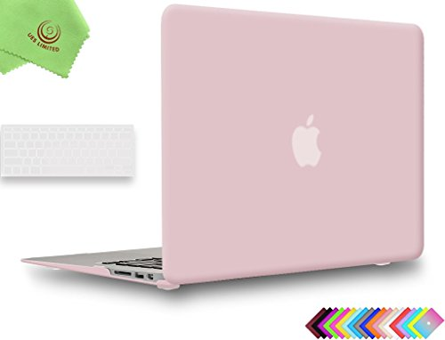 UESWILL 2in1 Smooth Soft-Touch Matte Hard Shell Case with Clear Keyboard Cover for 2008-2017 MacBook Air 13 inch (Model A1466 / A1369) + Microfibre Cleaning Cloth, Rose Quartz