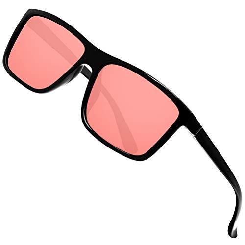 Large Round Sunglasses (Polarized Sunglasses for Men Driving Mens Sunglasses Rectangular Vintage Sun Glasses For Men/Women Ocean Red Lens/Black Frame)