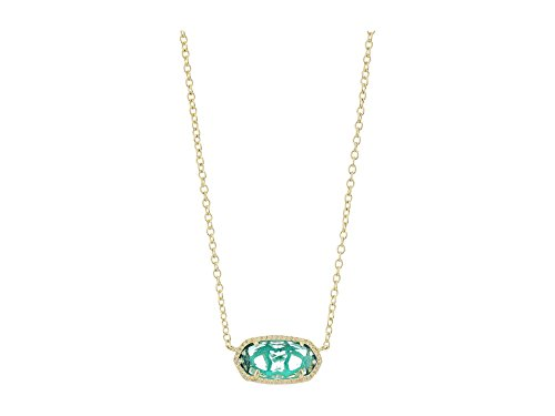 Kendra Scott Women's Elisa Birthstone Necklace December/Gold/London Blue Clear Glass Necklace