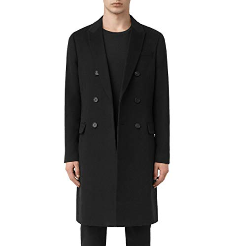 (Calvin Klein Men's MHCA07AHX000 Topcoat Double-Breasted Slim Fit Overcoat - Black - 36S)