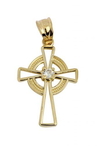 Petits Merveilles D'amour - 10 ct 471/1000 irlandaise Celtiquee Croix Collier Pendentif (vient avec une Chaîne de 45 cm)