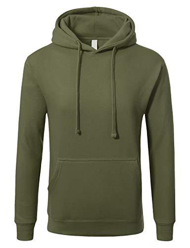 JD Apparel Men's Basic Pullover Hoodie Sweatshirt 2XL Military Green