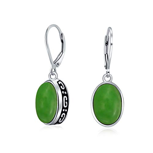 Bali Style 3.2 CTW Green Dyed Jade Gemstone Oval Bezel Set Leverback Dangle Earrings For Women 925 Sterling Silver