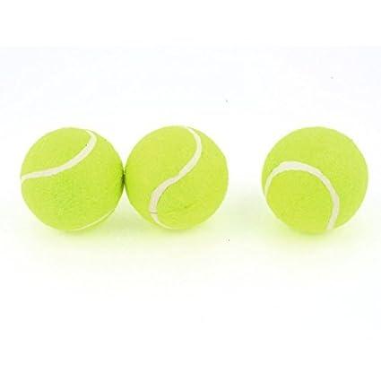 eDealMax Entrenamiento Deportivo Amarillo Verde Dia 6 cm de espuma PU Pelotas de Tenis 3 piezas