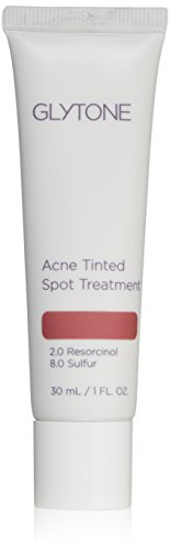 Glytone Acne Tinted Spot Treatment with Sulfur, Resorcinol, Tinted Cream Formula to Conceal Blemishes, Oil-Free, Non-Comedogenic, 1 oz.