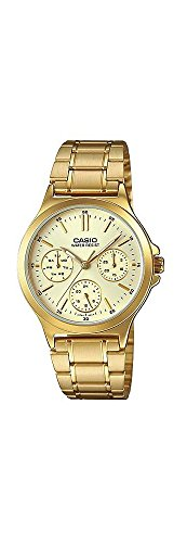 (Casio LTP-V300G-9A Women's Standard Gold Tone Stainless Steel Multifunction Gold Dial Watch)