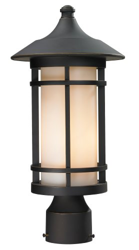 Z-Lite 528PHM-ORB Outdoor Post Light, Oil Rubbed Bronze Finish Matte Opal ()