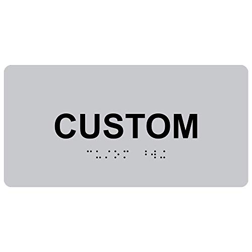 ComplianceSigns Acrylic ADA Tactile + Braille Custom Sign, 8 x 4 in. Silver with Your Text