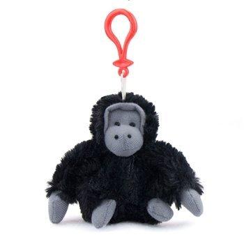 Gorilla Plush Black Gorilla Stuffed Animal Backpack Clip Toy Keychain WildLife Hanger ()
