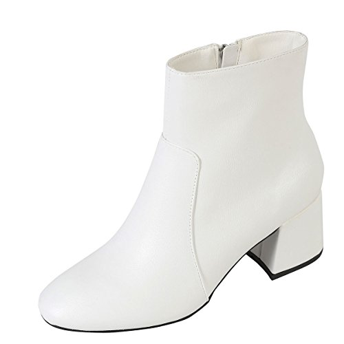 Bamboo Womens Round Toe Block Chunky Med Low Heel Ankle Booties Short Boot Shoes 6.5 White by Bamboo