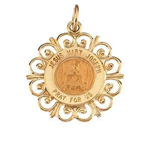 18,5mm altagracia Jaune 14K Pendentif Médaille Sainte Famille