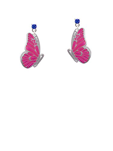 Large Translucent Hot Pink Flying Butterfly Blue Crystal Post (Blue Enamel Butterfly Post Earrings)