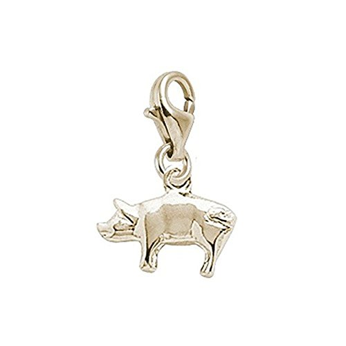 14K Yellow Gold Pig Charm With Lobster Claw Clasp, Charms for Bracelets and Necklaces (Pig Gold 14k Yellow)