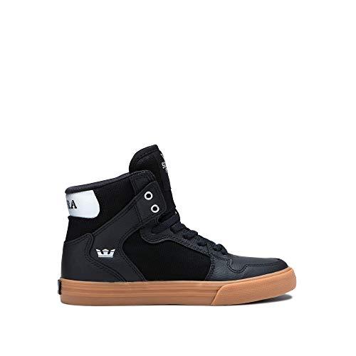 Supra Footwear - Kids Vaider High Top Skate Shoes, Black/Silver-Gum, 1 M US Little Kid