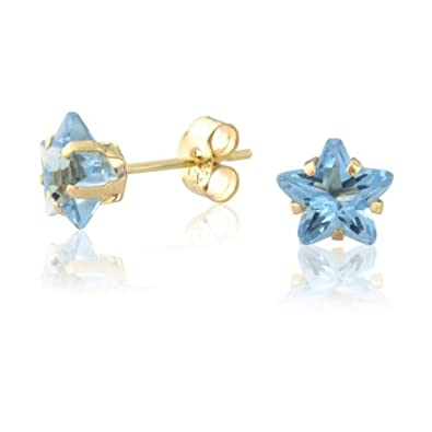 9ct Gold Star Shaped Blue Stud earrings Q7Q66lGO