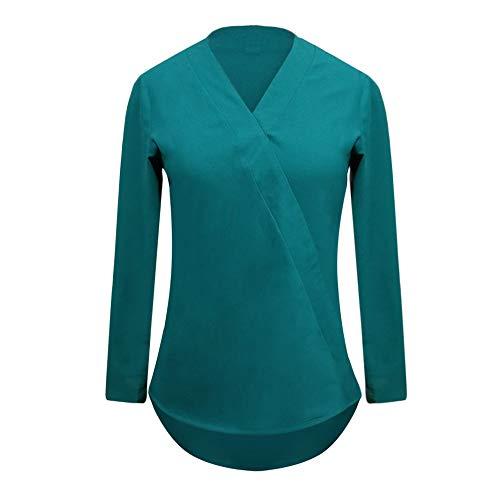 Shirt Croix Sexy Longues Lache Chemise T Unie Manches Col Occasionnels Mode DEELIN en Femmes Couleur V Vert Chemisier Tops xqvCwIXIT
