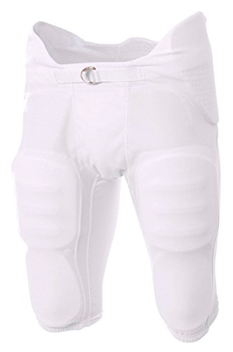 A4 Boy's Flyless Integrated Football Pant White ()