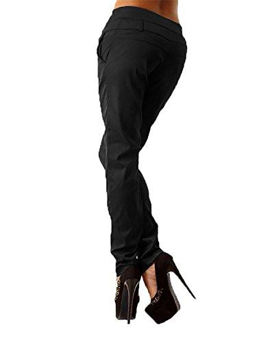 StyleDome Donna Casuali Matita Tasche Nero Ufficio ACHIOOWA Pulsanti Pantaloni Udqxd