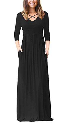 (Women's Sexy 3/4 Sleeve Maxi Dress with Pockets Criss Cross V Neck Loose Flowy Long Dresses Black)