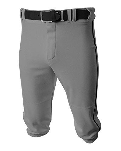 Baseball/Softball Knee High Pants Grey/Black Side Piping Youth Large Old School (Old School Baseball Uniforms)