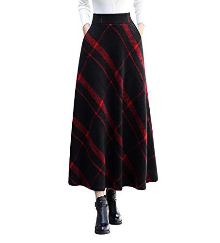 Femmes Vintage lgant raye  Carreaux Haute Taille Hiver Jupe en Laine Automne Hiver Chaud A-Line Chaude Taille lastique Longue Jupe Noir Rouge