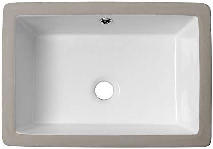 Lordear 18 Vessel Sink Modern Pure White Rectangle Undermount Sink Porcelain Ceramic Lavatory Vanity Bathroom Sink 18 Inch