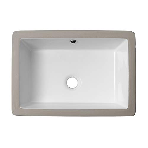Lordear 18 Vessel Sink Modern Pure White Rectangle Undermount Sink Porcelain Ceramic Lavatory Vanity Bathroom Sink 18 Inch
