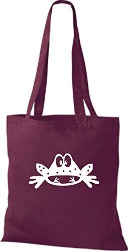 Shirtstown Stoffbeutel Tiere Frosch Kröte Weinrot
