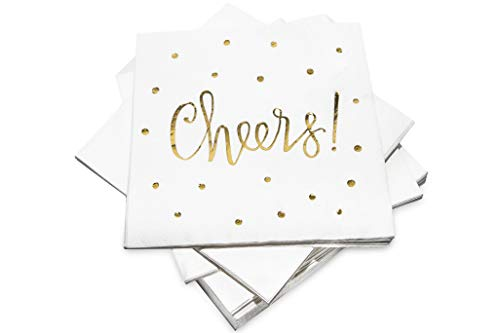 Pack of 50 Cheers Cocktail Party Napkins 3-Ply - Disposable Paper Napkins Gold Foil Designs - Perfect for Birthdays, Bridal, New Years, Anniversary and Special Occasions - by Simple Glee -