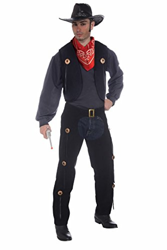 Men's Black Wild West Cowboy Vest and Chaps Costume Set (Save A Horse Ride A Cowboy Costume)