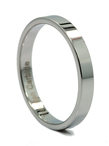 MJ Metals Jewelry 3mm Flat Pipe Cut Tungsten Carbide Mirror Polished Wedding Ring Band Size 5 - 3mm Engraved Band