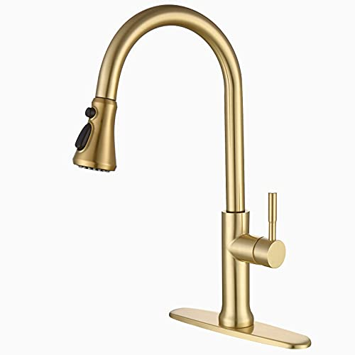 Kitchen Faucets with Pull Down Sprayer, Kitchen Sink Faucet with Pull Out Sprayer, Fingerprint Resistant, Single Hole Deck Mount, Single Handle Copper Kitchen Faucet, Gold