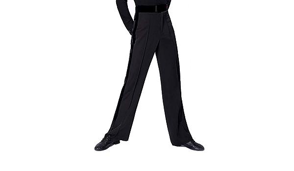 Daydance Boys Latin Pants Straight Ballroom Salsa Tango Samba Dance Practice Pants with Pockets Long and not Hemmed Leggings