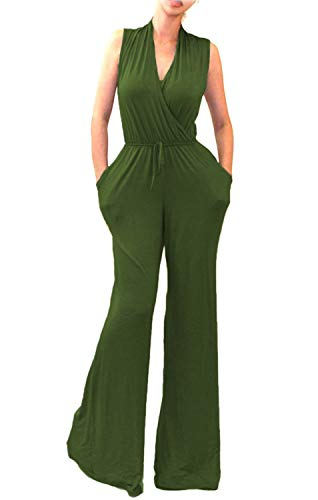 798be57c1c62 OURS Women s Sexy Deep V Neck Long Sleeve Wrap Wide Leg Jumpsuits Rompers  with Pockets