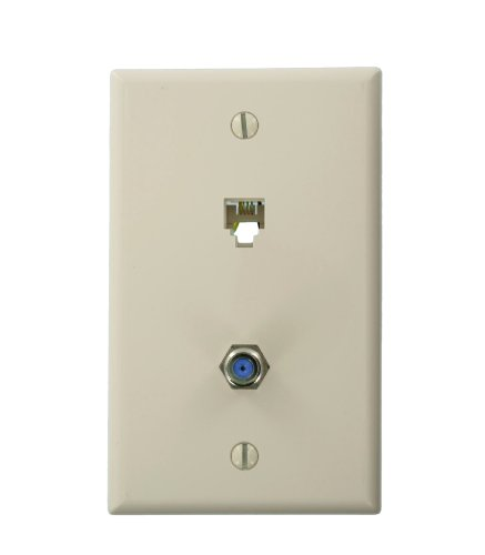 Leviton Telephone 6P4C Plates & F-Connector Wall Jack (Light Almond) Home Audio Crossover, Beige (40259-T) ()