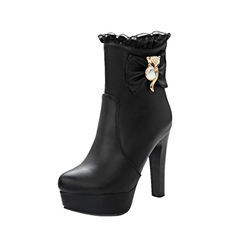 Mee Shoes Damen modern runder toe mit Lace Metall-Dekoration Reißverschluss Schleife Plateau Stiefel mit hohen Absätzen Schwarz