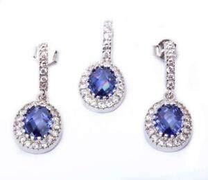 Halo Oval Tanzanite Cz 925 Sterling Silver Earring Pendant Jewelry Set Jewelry Accessories Key Chain Bracelet Necklace Pendants