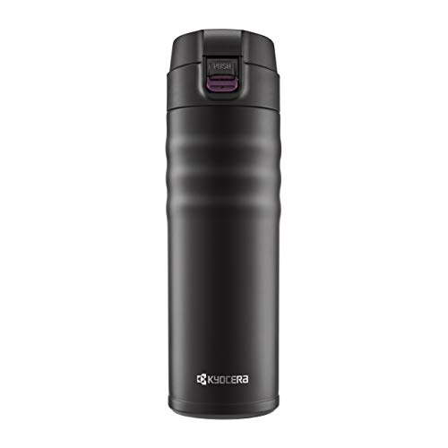 Interior Travel Mug - Kyocera 17oz. Ceramic Coated Interior, Double Wall Vacuum Insulated, Stainless Steel Travel Mug-Matt Black
