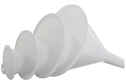 Ram-Pro 4 Pieces Plastic Funnels - plastic filter Oil Funnel Quick and Clean Transferring Liquids, Mini Plastic Funnel for Bottle Filling Assorted Sizes