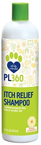 PL360 Itch Relief Dog Shampoo for Dry Skin, Herbal Chamomile, 16 Ounces
