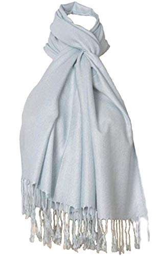 C-More Elegant Pashmina Silk Blend Soft Wrap Scarf Shawl For Women -30+ Solid Colors (Pale Blue)