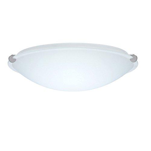 Besa Flush Light (Besa Lighting 968107-SN 2X100W A19 Trio 16 Ceiling Flush Mount with White Glass, Satin Nickel Finish )