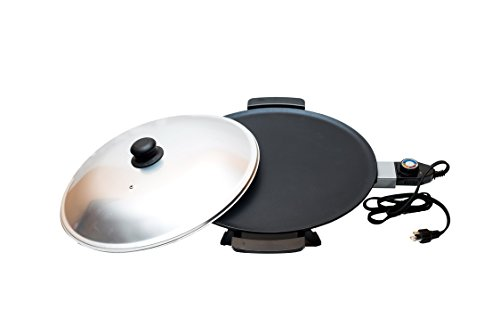 NIAT 16 inch Non-Stick Electric Grill Mitad, Mogogo – for Injera, Pizza, Flatbread, Pita, Tortilla, Chapati, Lefse. Dome Cover is INCLUDED. For USA and CANADA Only, Comes with 120V Power Plug.