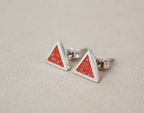 (Triangle Coral Mosaic Micro Mosaic Sterling Silver Stud Earrings, Semi Precious Gemstone by Handmade Studio)