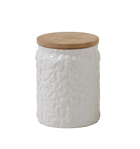 - Floral Embossed Canister with Bamboo Lid